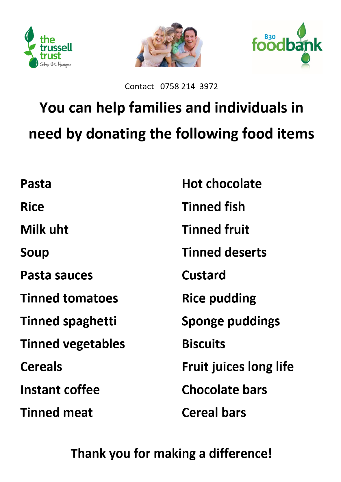 You can help out families and individuals in